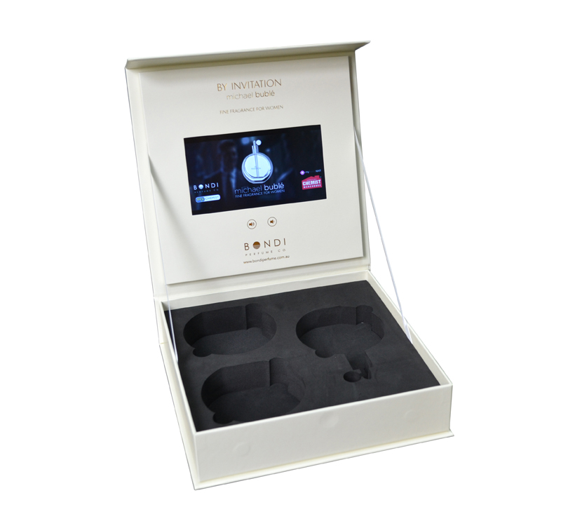 Deluxe video panel box perfume retail product 7 inch screen