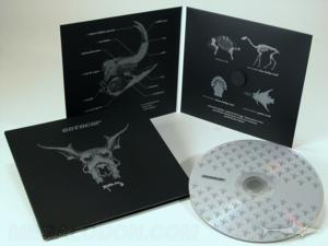 silver metalllic ink printing on black cd jacket