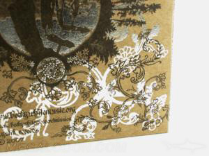 metallic ink and foil on fiberboard paper packaging
