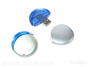round usb flash memory blue plastic