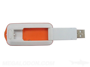 flip style usb drive orange and white