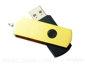 yellow metal usb thumb drive