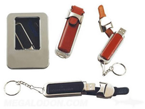 leather usb thumb drive with key chain ring and gift box