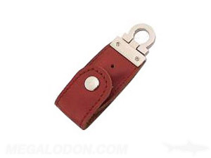 leather case usb with snap lock clip ring