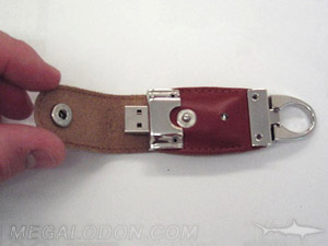 leather case thumb drive with snap lock and ring clip