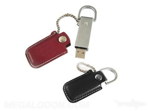 brown and black leather usb with chain