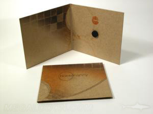 Recycled fiberboard CD packaging disc hub