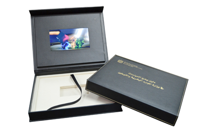 deluxe leather wrapped video panel box