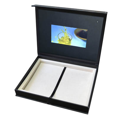 leather wrapped video panel box compartments 5 inch screen