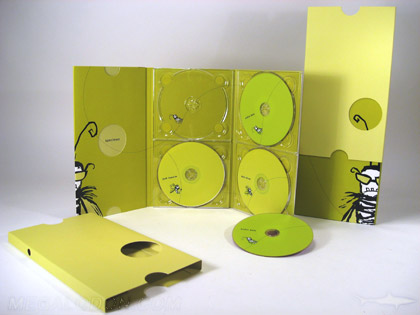Slipcase for dvd tall 10inch height die cut circles 4disc packaging with booklet