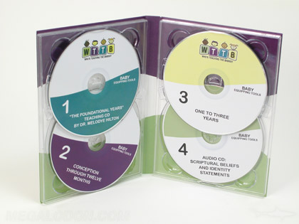Multi disc set, 4 discs (cd and dvd) using double disc trays to hold 2 discs per panle, 4pp tall digipak packaging
