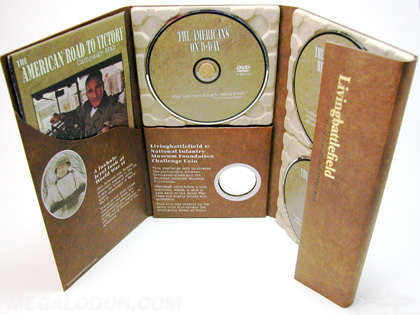 Custom digipak 3disc set paper trays 6pp digipak 10inch tall die cut