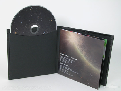 CD book glued sleeve packaging black kraft paper lining