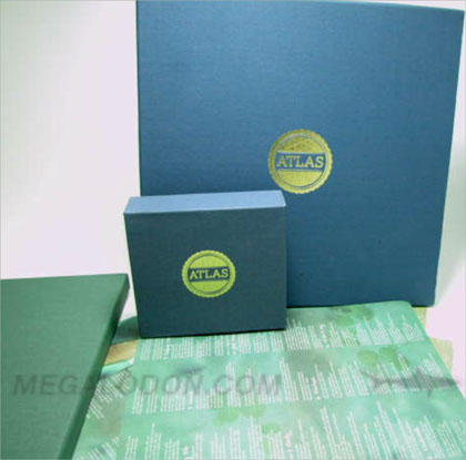 Linen Boxes Vinyl and CD Box Setcloth fabric green blue