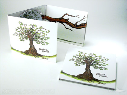 CD packaging with uncoated matte paper stock and reverse side printing