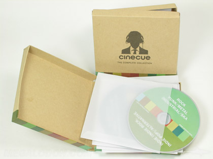Custom disc box set, 5 vellum inner disc sleeves, fiberboard box with kraft paper wrap