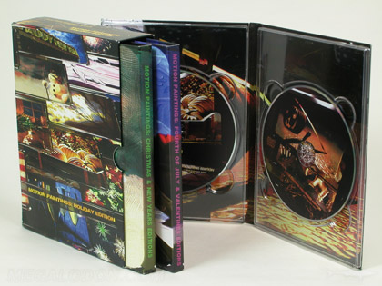 Multidisc 6dvd set packaging, 2 disc tall digipak with two single trays, 3 volumes in slipcase set